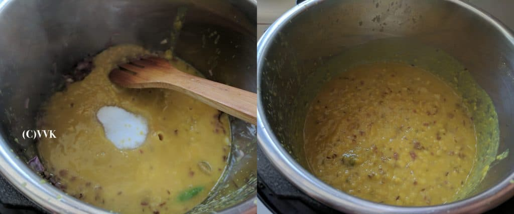 Adding the cooked dal and salt and mixing in Isntant Pot