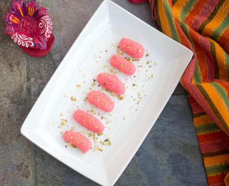 MicrowaveRicottaCheeseSandesh kep in white plate