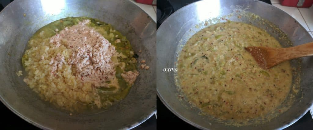 Adding the ground coconut paste, mashed moong dal and mixing