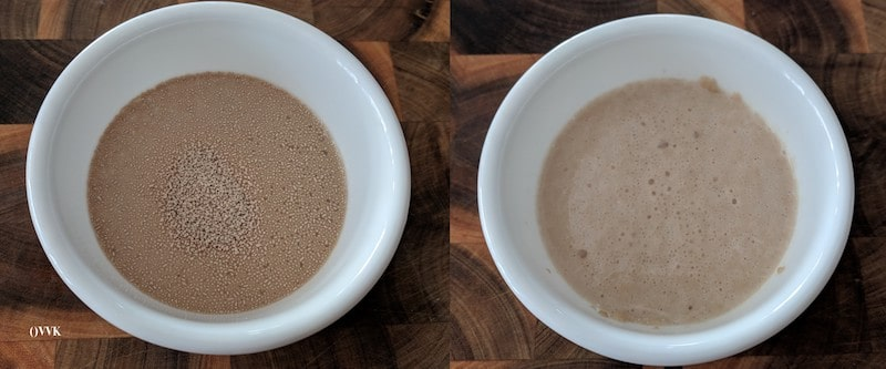 Adding yeast mix to the flour