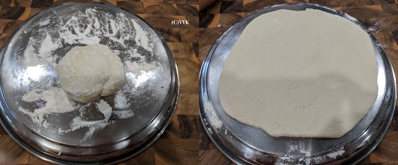 Slowly stretching the dough with fingers on a metal tray