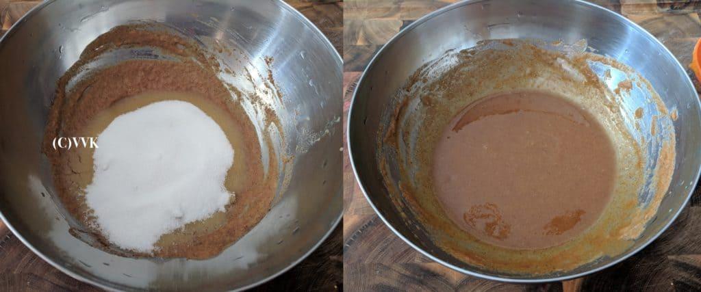 Adding sugar and mixing the ingreidents