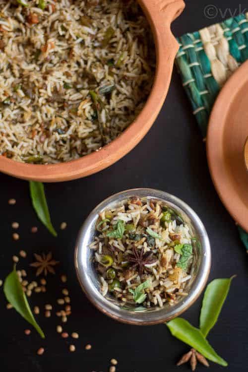 Delicious Ulava Charu Vegetable Biryani in different bowls