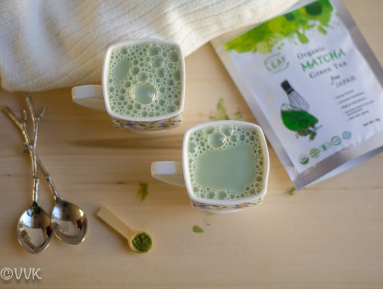 Matcha Green Tea Latte with organic matcha green tea pack from Japan