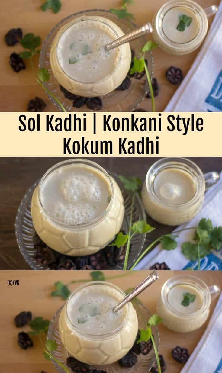 Sol Kadhi, Konkani Style Kokum Kadhi collage with text overlay