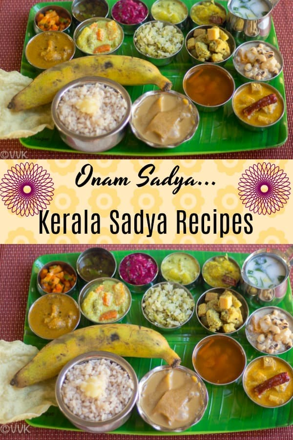 Onam Sadya Thali, Kerala Sadya Recipes, collage with text overlay