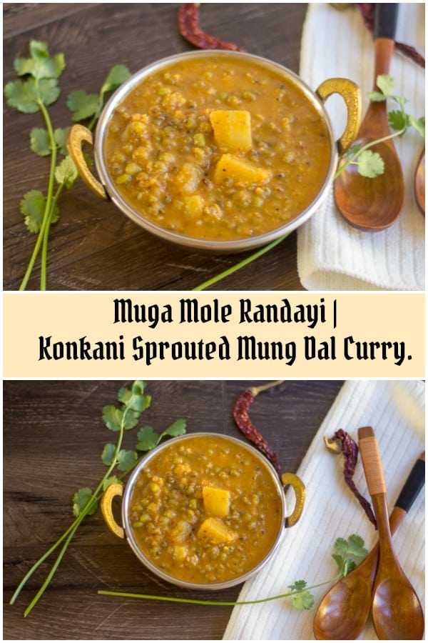 Sprouted Moong Dal Curry collage with text overlay