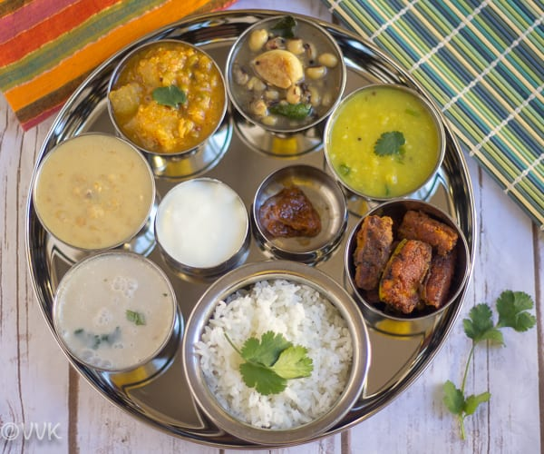 Delicious Vegetarian Konkani Thali on a tray