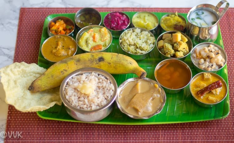 Onam Sadya Thali served in a green tray