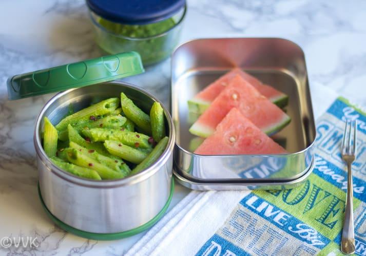 Cilantro Pesto Pasta with almonds and watermelon in the lunch box