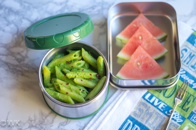 Cilantro Pesto Pasta with almonds and watermelon