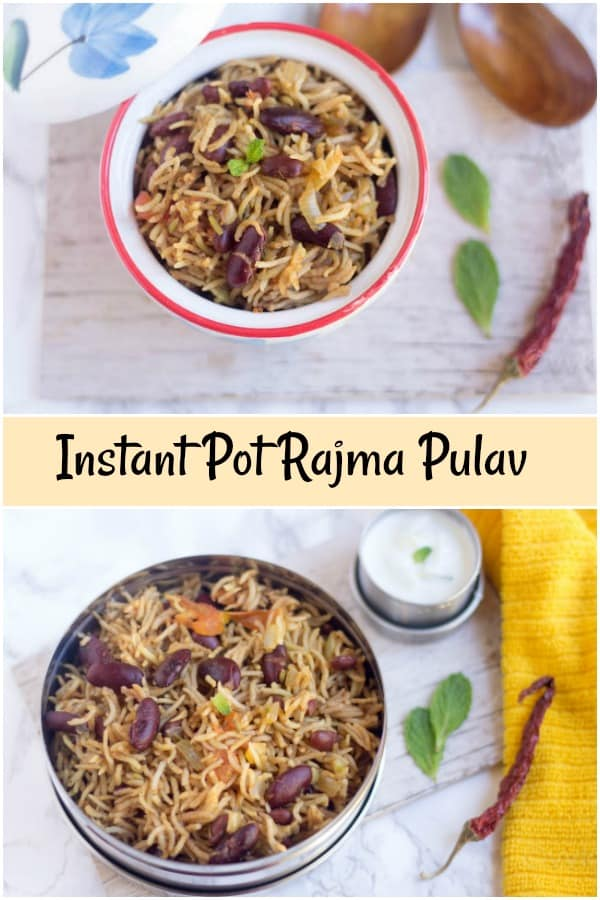 Rajma Pulao - Instant Pot Rajma Pulav - Collage with Text Overlay