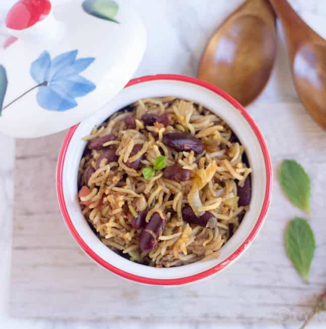Rajma Pulao - Instant Pot Rajma Pulav - Beautiful Dish Perfect to Serve for Dinner