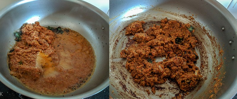 Adding the ground masala, salt and turmeric