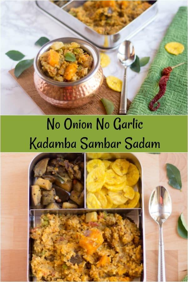 Kadamba Sambar Sadam collage with text overlay