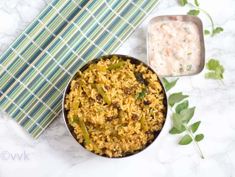 Kadale Manoli Rice with a side on a table