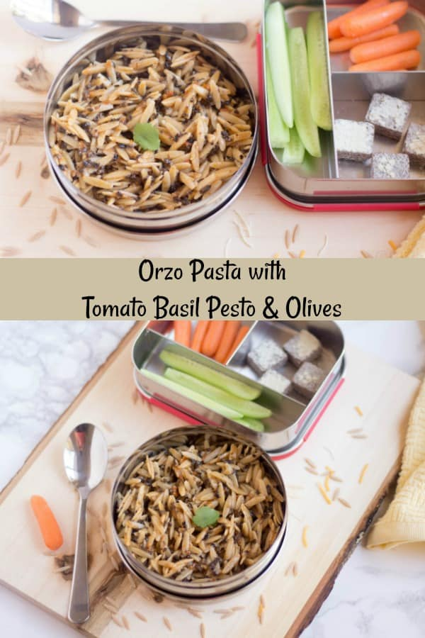 Orzo Pasta collage with text overlay