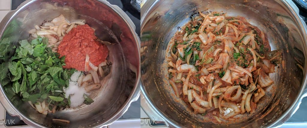 Adding the ground tomato mix, mint leaves and salt