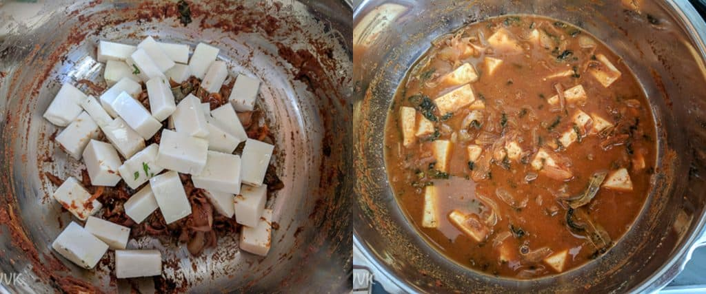 Adding the paneer cubes and the water