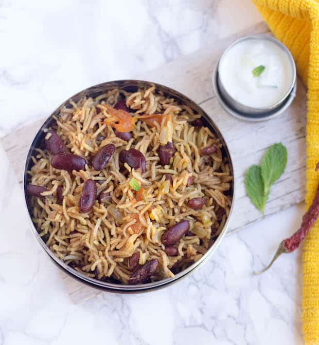 Rajma Pulao - Instant Pot Rajma Pulav - Overhead Shot on the Delicious Dish