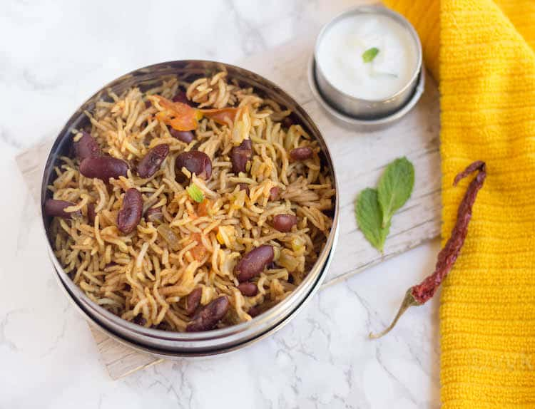 Rajma Pulao - Instant Pot Rajma Pulav - Delicious and Spicy with Mint Leaves and Chili Pepper on the Side