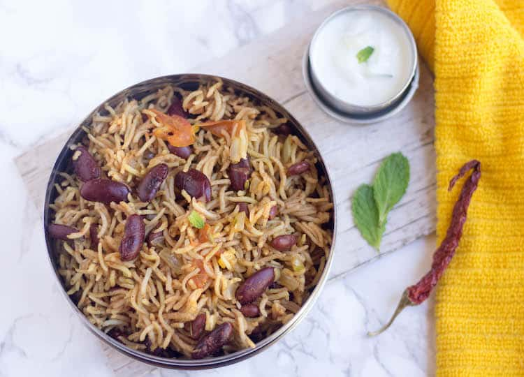Rajma Pulao - Instant Pot Rajma Pulav - Overhead Shot on the Dish with Yellow Cloth on the Right