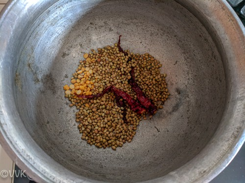 roasting the spices for puliodarai powder