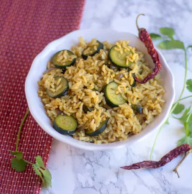 Zucchini Rice | Indian Style Zucchini Baath