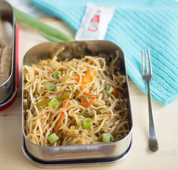 Closeup of the Hakka Noodles lunch box on the table