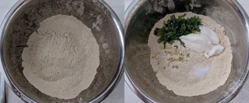 Sifting the chickpea flour, baking soda and salt into a bowl