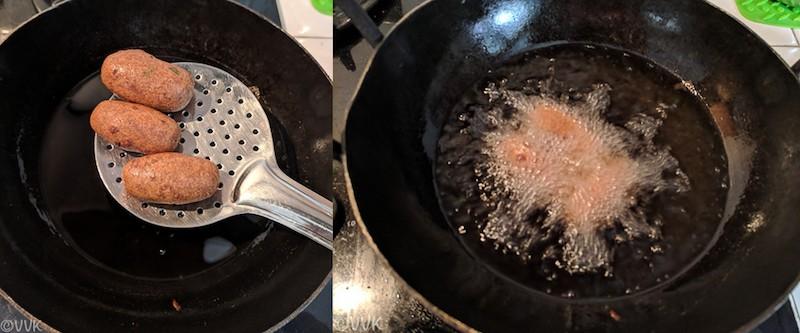 Frying the dumplings on a pan full of oil