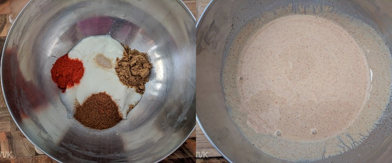 Adding the dry spice mix to the whisked yogurt with salt and hing