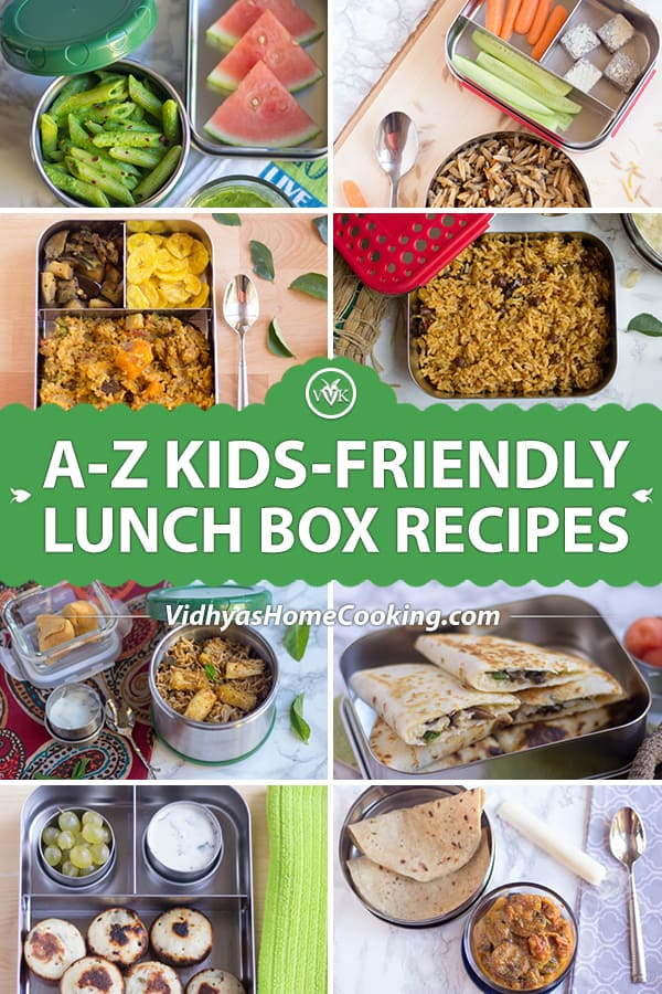 A to Z Kids-Friendly Lunch Box recipes collage with text overlay