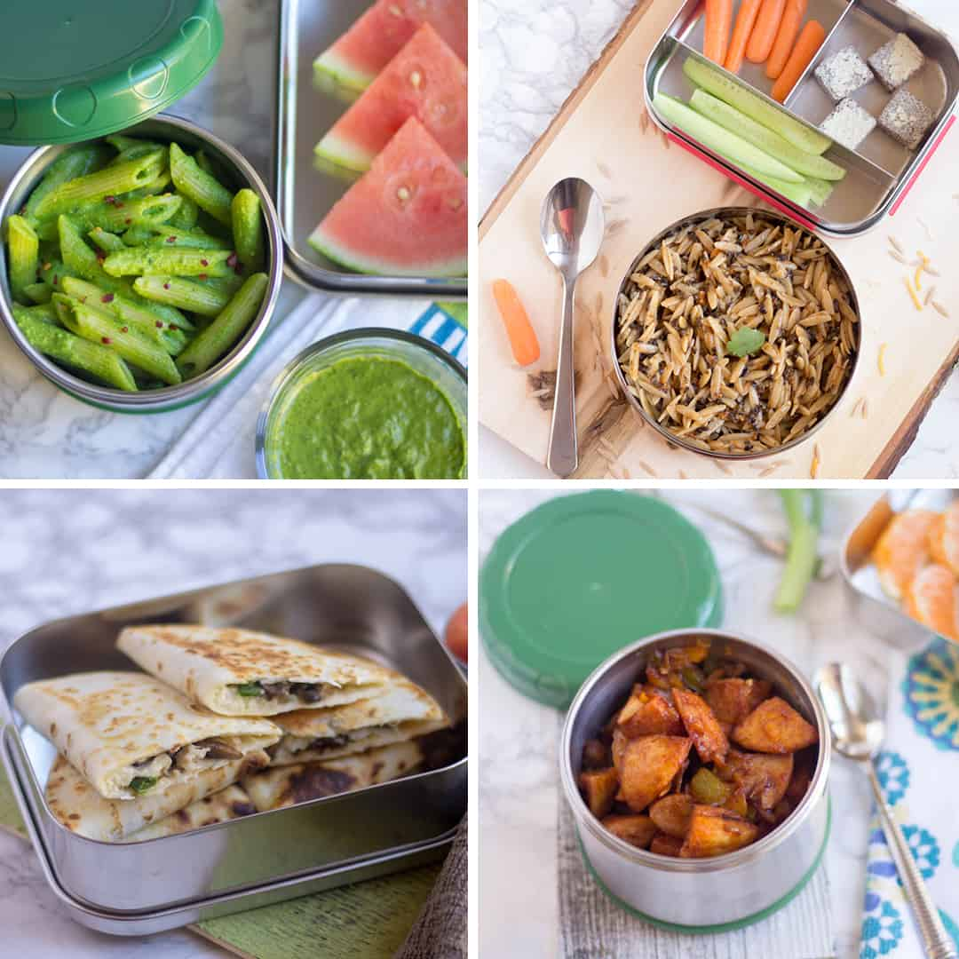 A to Z Kids-Friendly Lunch Box Recipes collage of four