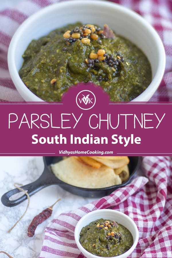 Parsley Chutney collage with text overlay