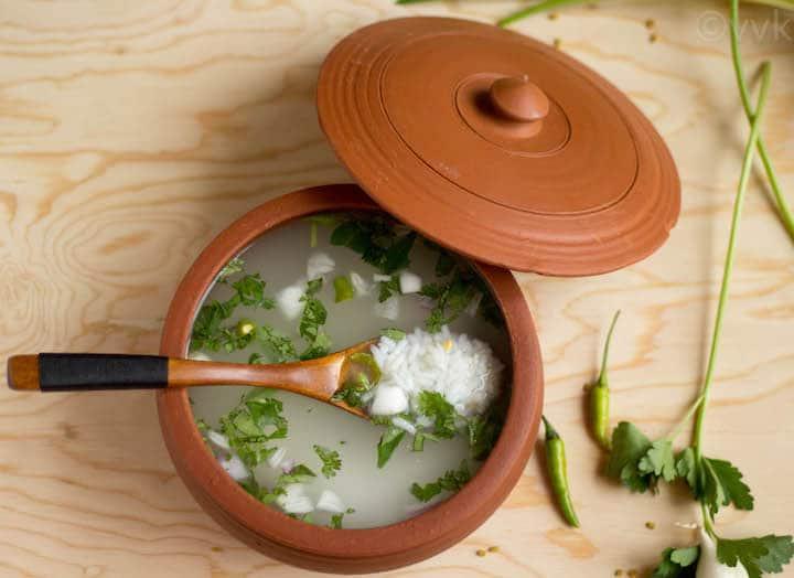 Leftover Rice Porridge on the wooden table