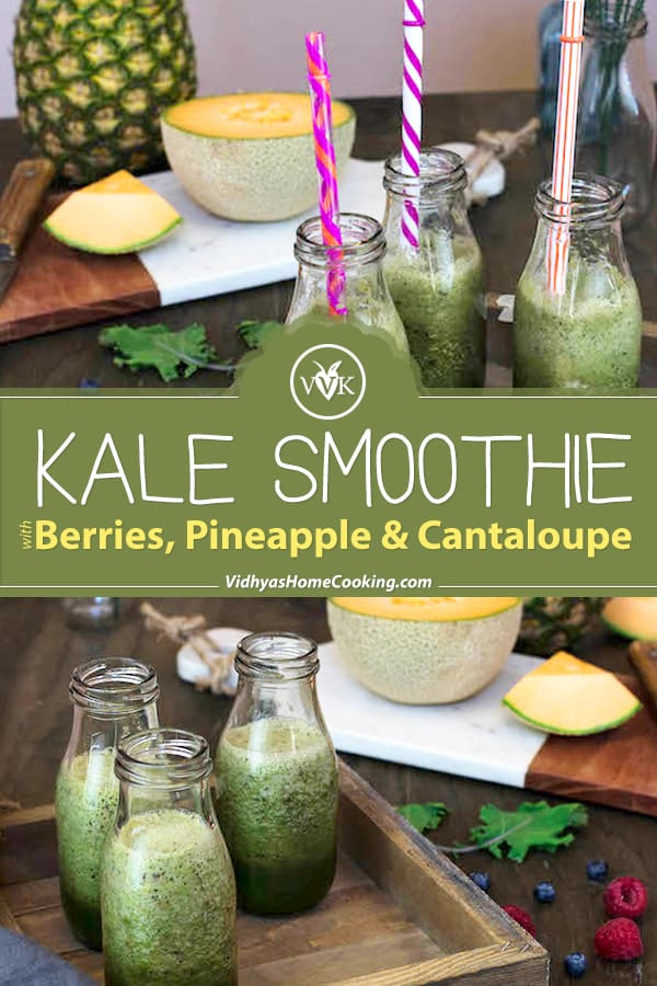 Kale Smoothie with Berries collage with text overlay