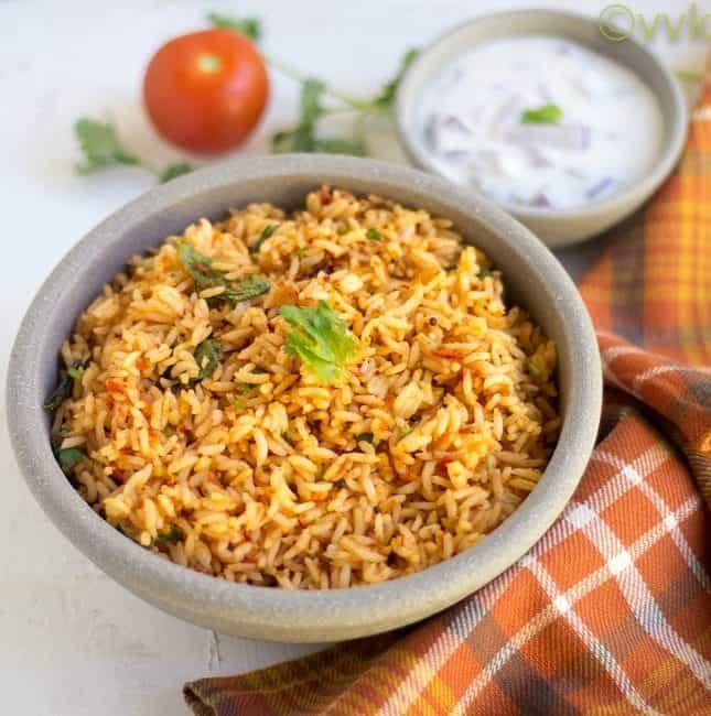 Tomato Rice | Thakkali Saadam