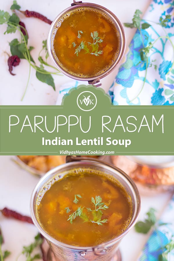 Paruppu Rasam collage with text overlay