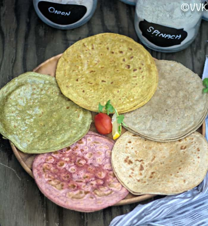 Colorful Roti Variations with various types of flour in the background