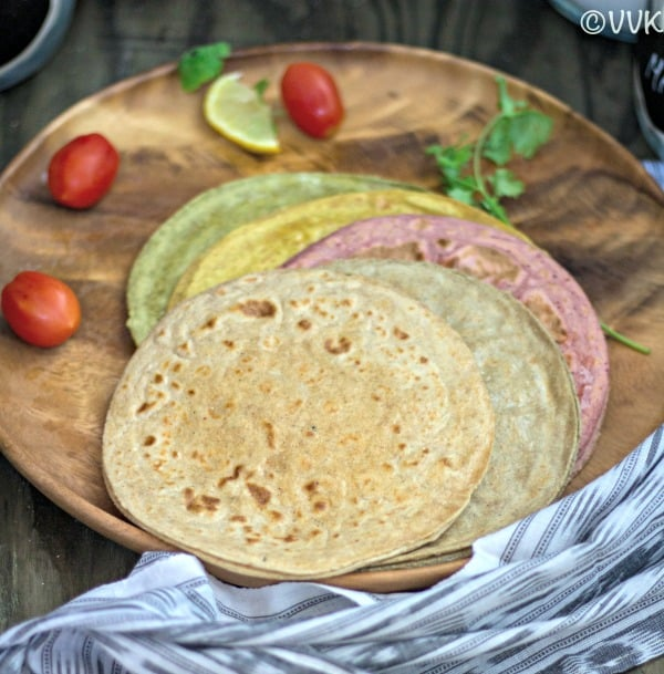 Colorful Rotis made with Rotimatic