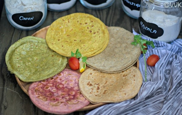 Five different Colorful Rotis served on a plate