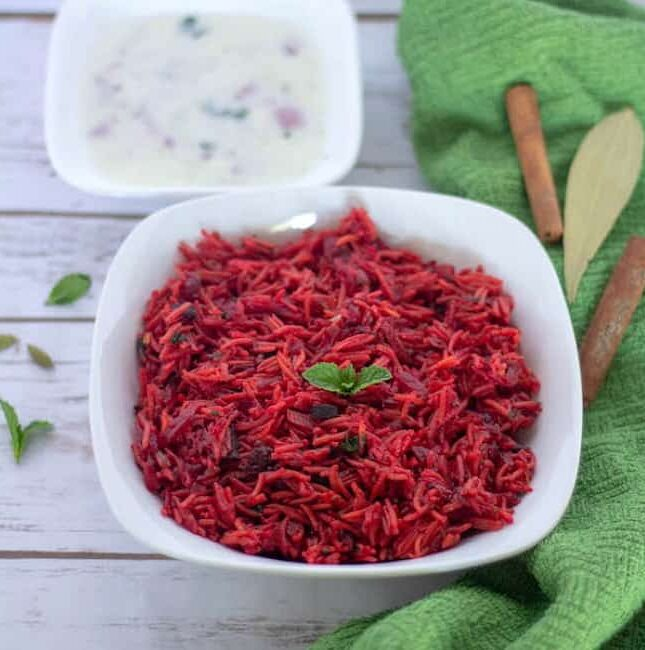 Instant Pot Beetroot Rice | Beets Pulav