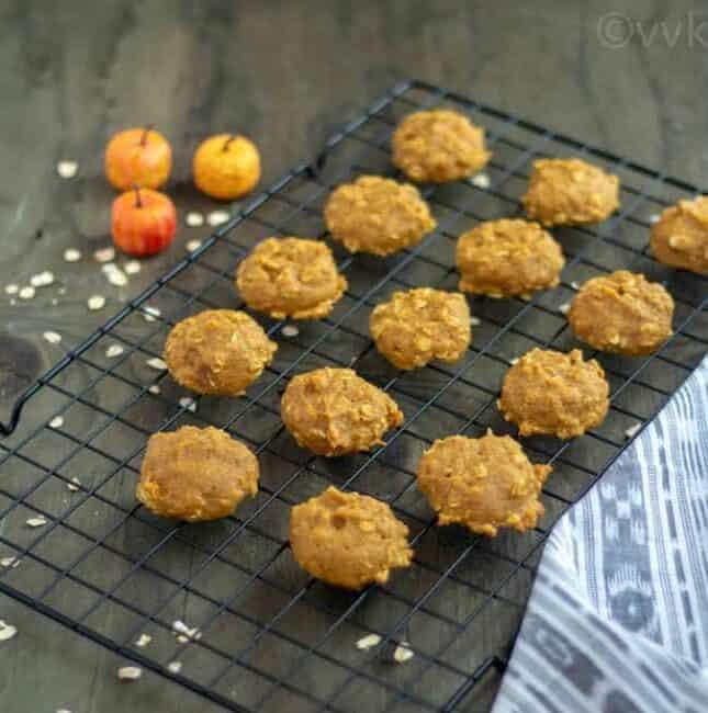 Eggless Pumpkin Cookies with Quinoa Flour | Vegan Pumpkin Cookie