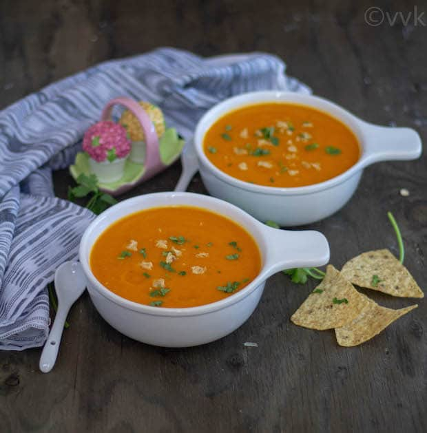 Healthy Roasted Bell Pepper Butternut Squash Soup with chips on the side