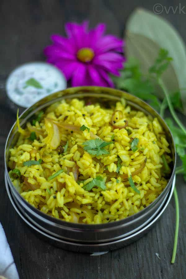 Closeup on the healthy and delicious Onion Rice Vengaya Saadam