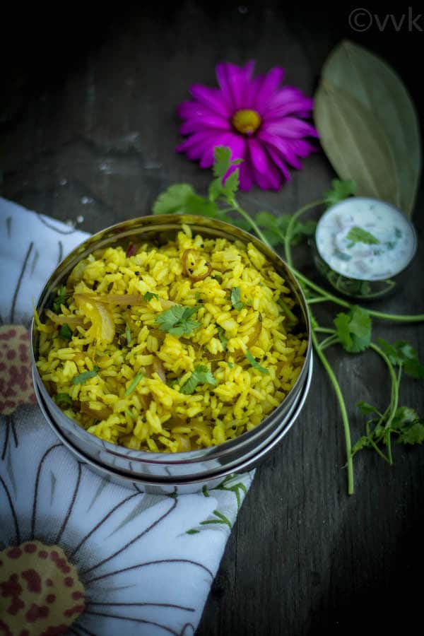 Onion Rice Vengaya Saadam served in a beautiful composition