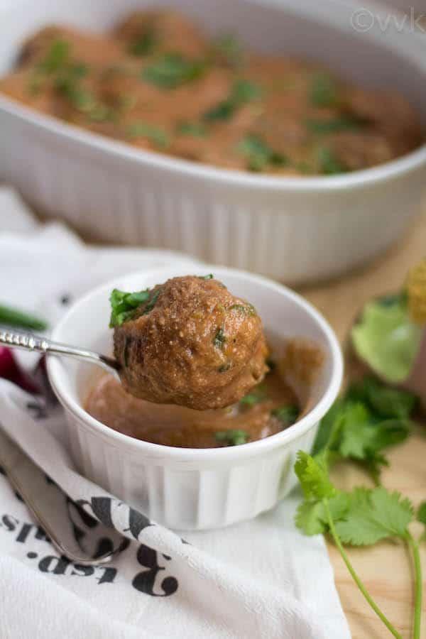 Closeup on one of the koftas of this delicious Vegan Zucchini Kofta Curry recipe
