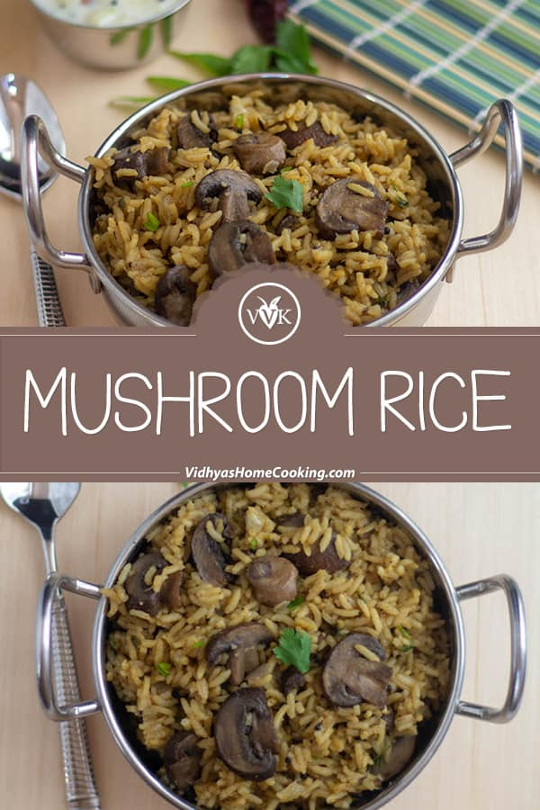 Mushroom Rice collage with text overlay