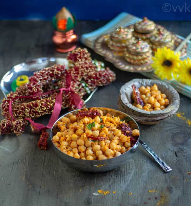 garbanzo beans sundal with navratri decor